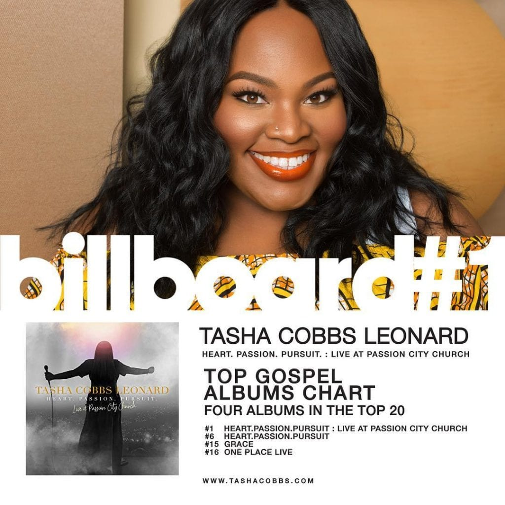 Singer, songwriter, minister, and psalmist Tasha Cobbs began her music career in Atlanta, working for her pastor father and running the family's music ministry at Jesup New Life Ministries. She began three years' worth of touring America with Pastor William H. Murphy III and his dReam Center Church of Atlanta in 2006. In 2010 she launched her solo career with the album Smile, released on her own Tasha Cobbs Ministries label. Three years later, major-label EMI would release her sophomore effort, Grace. In 2015 she moved to the Motown Gospel imprint for One Place Live, an album recorded at the Redemption Church in Greenville, South Carolina. Cobbs married music producer Kenneth Leonard on March 3, 2017. Five months later, Tasha Cobbs-Leonard released a new album, Heart. Passion. Pursuit.